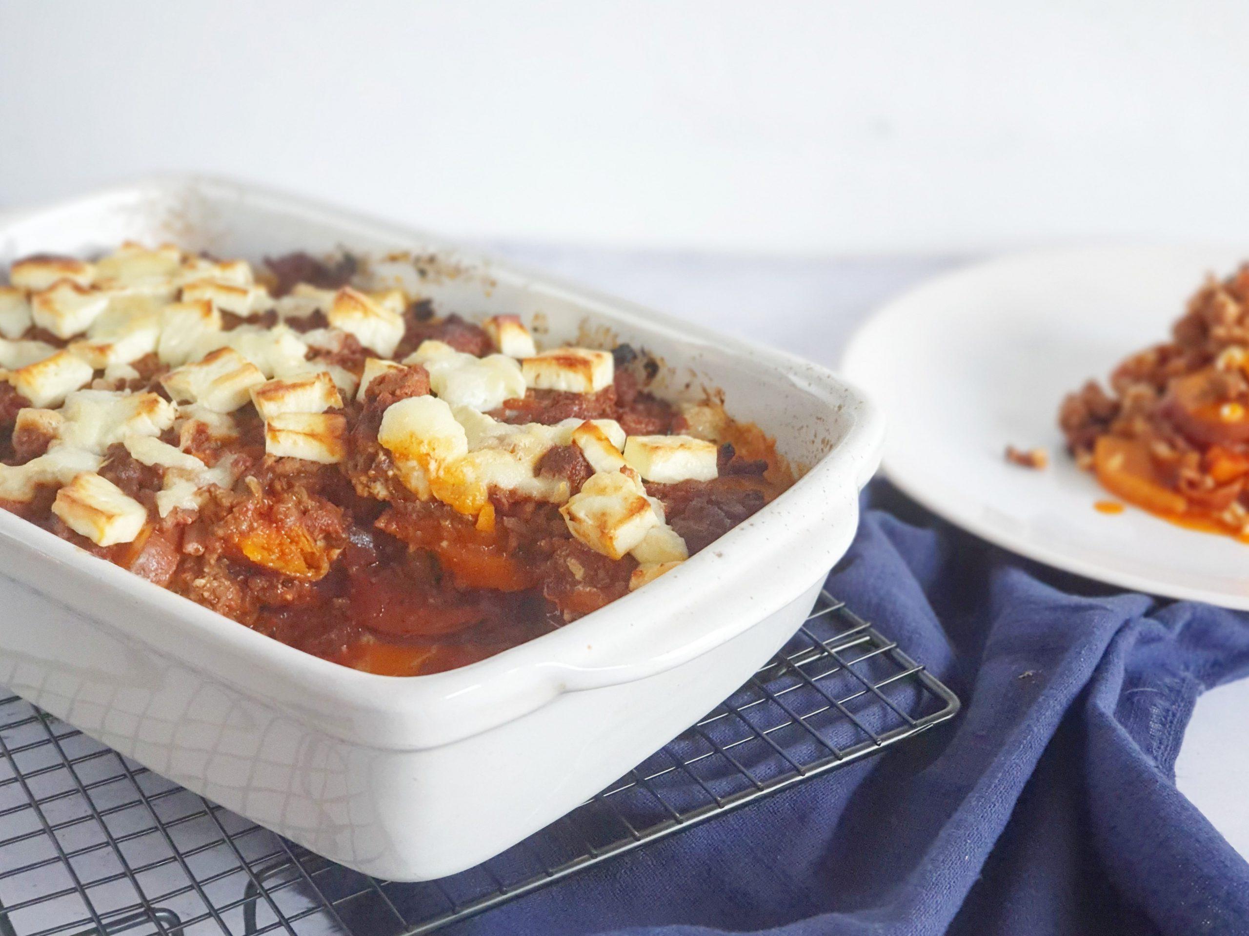 Ovenschotel van gehakt en zoete aardappel met feta