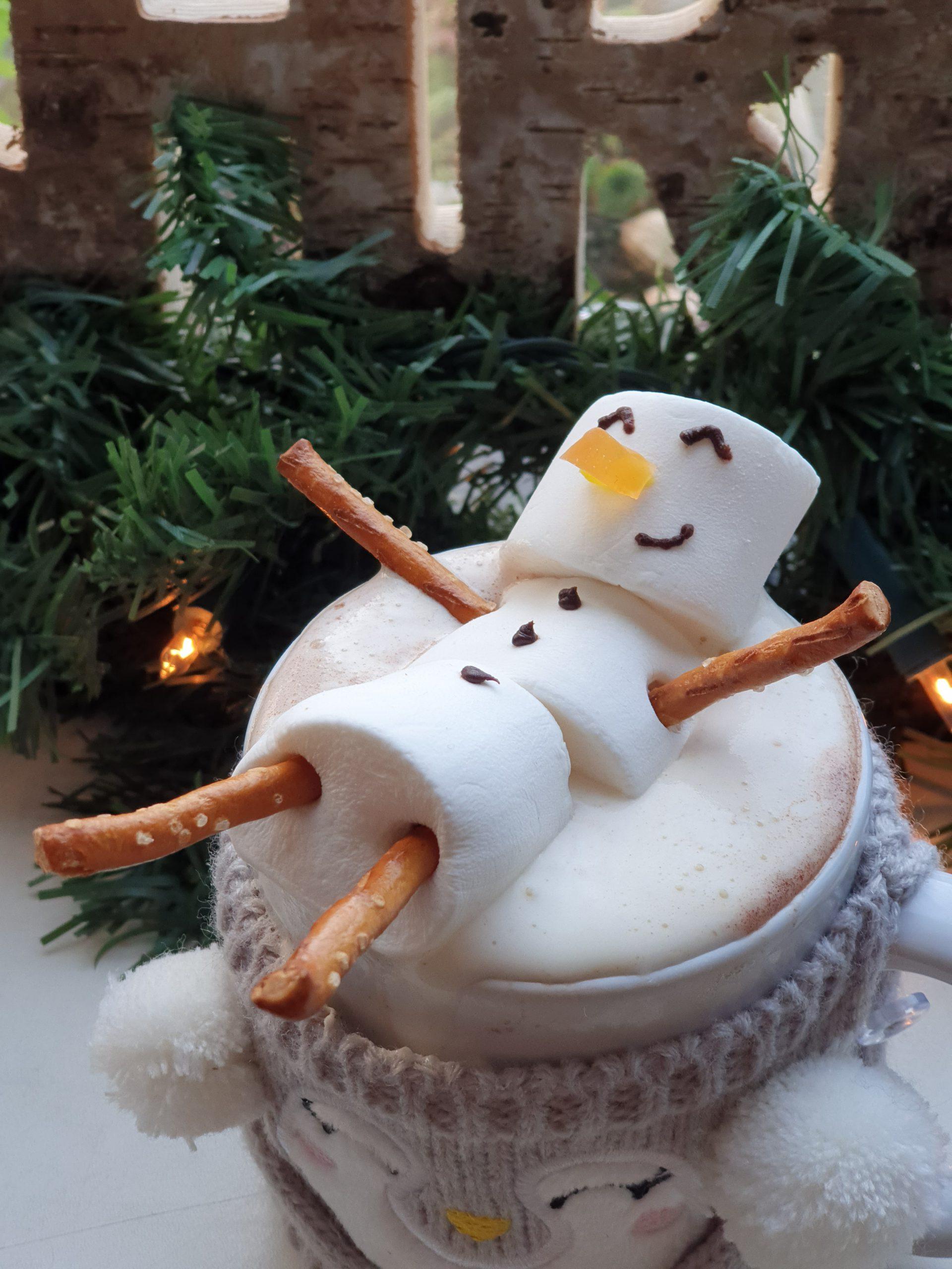 Kerst chocomel met sneeuwpop