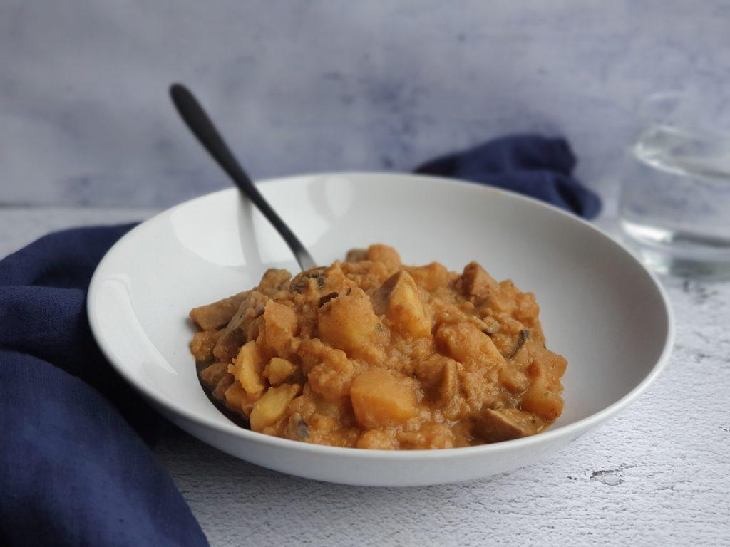 aardappelcurry met aubergine